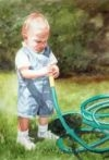 Watercolor painting of baby holding garden hose