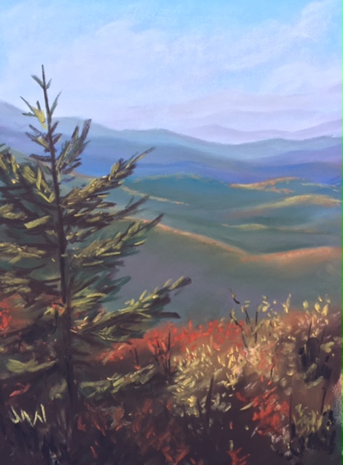 Pastel painting Blue Ridge Mountains autumn