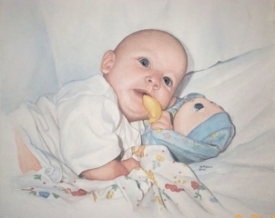 Watercolor painting of baby and Glo-Worm