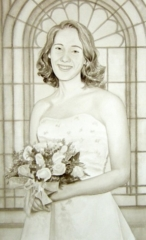 Watercolor painting of bride holding white roses