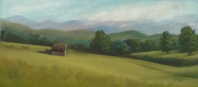 Pastel painting meadow barn