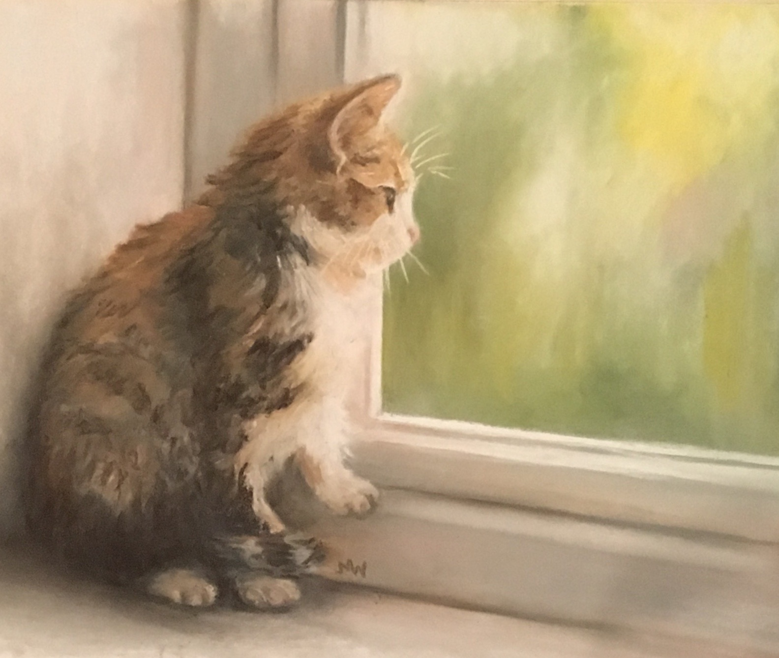 Pastel painting kitten looking out window