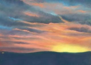 Pastel painting sunset mountains