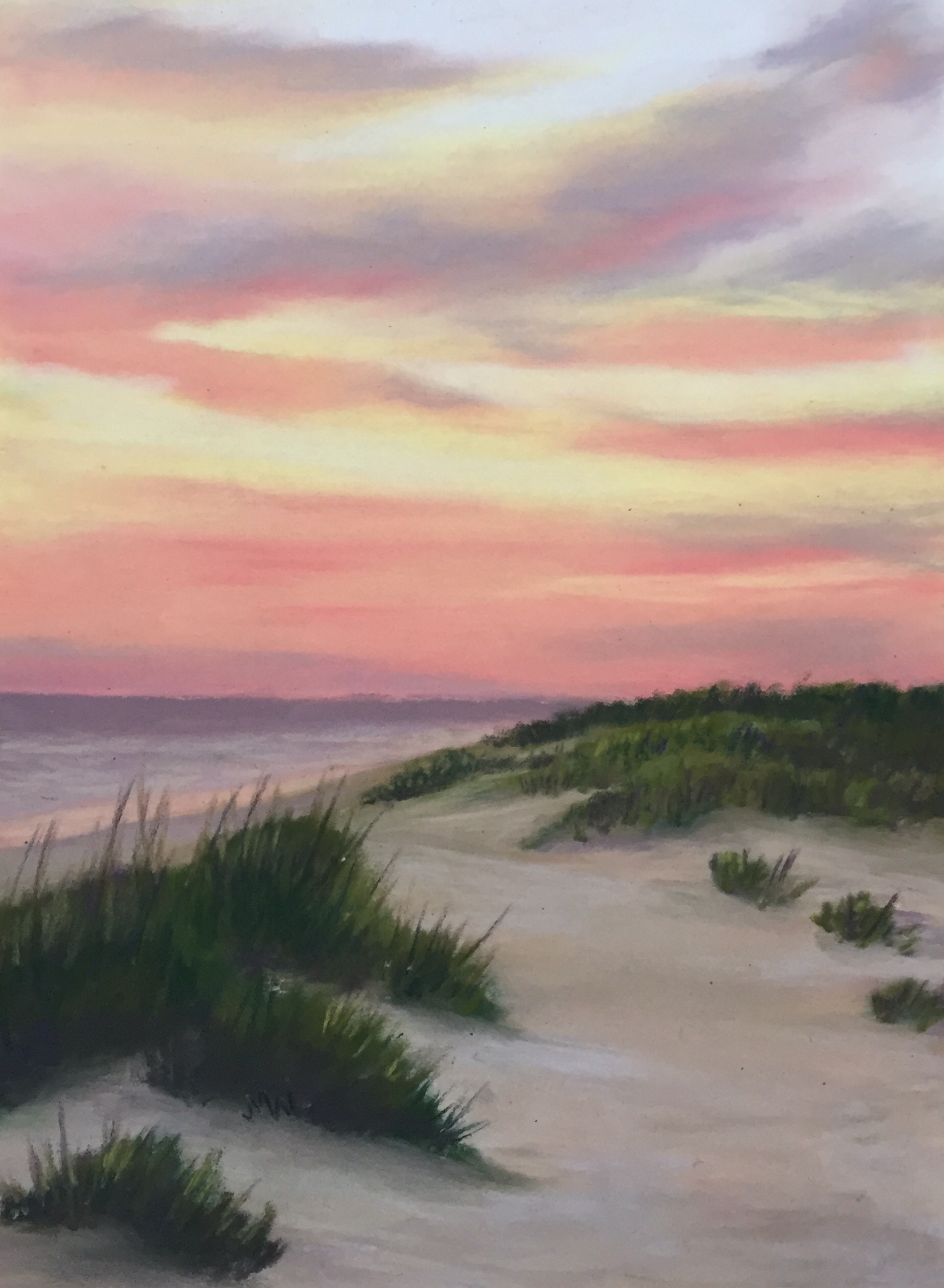 Pastel painting beach sunrise
