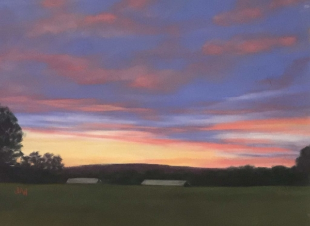 Pastel painting farm at sunset