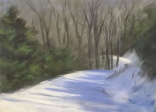 Pastel painting snowy road driveway