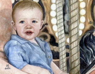Watercolor painting of young boy riding the merry-go-round