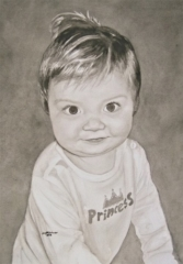 """Watercolor painting of baby girl with """"Princess"""" shirt"""