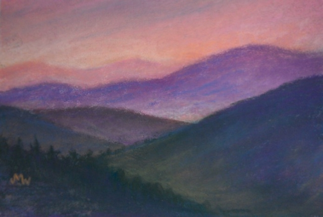 Pastel painting purple mountains