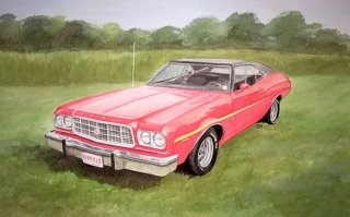Watercolor painting red car