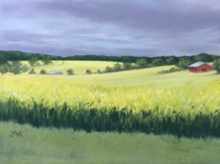 Pastel painting yellow meadow red barn storm