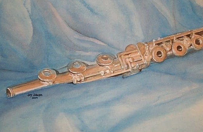 Flute painting watercolot