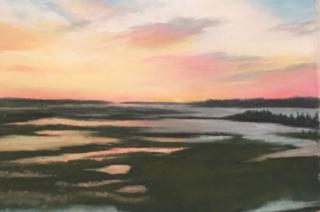 Pastel painting sunset Oak Island marsh