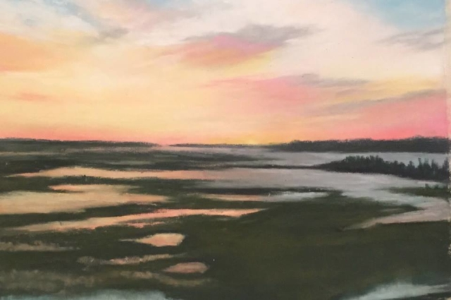 Pastel painting sunset Oak Island marsh