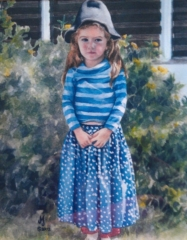 Watercolor painting of little girl playing dress up