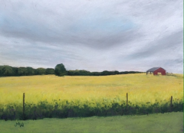 Pastel painting meadow yellow flowers red barn