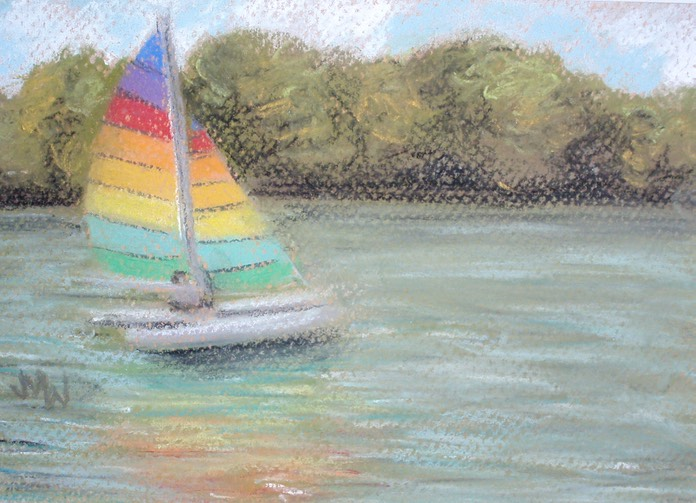 Pastel painting sailboat