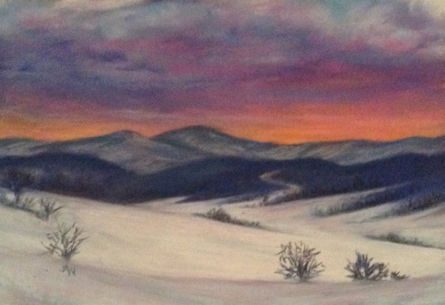 Pastel painting snowy mountain sunset