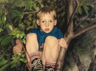 Watercolor painting of little boy sitting in tree