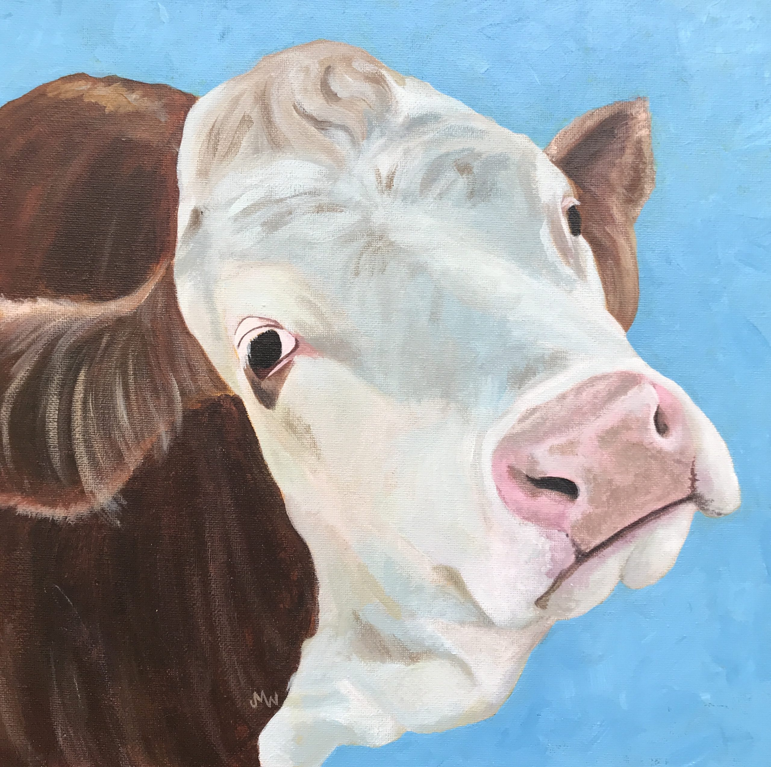 Acrylic painting of brown and white cow