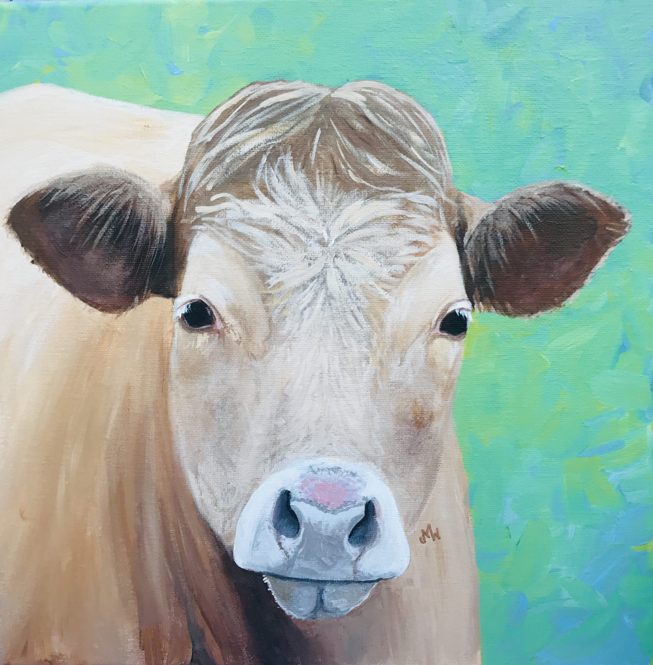 Acrylic painting light brown cow