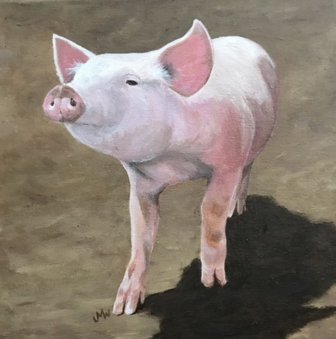 Acrylic painting of pink piglet