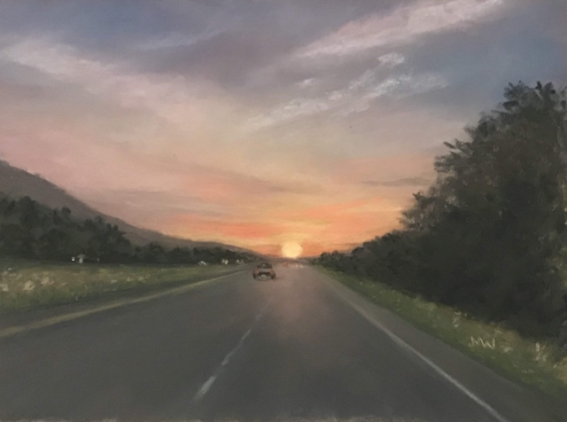 Pastel painting highway at sunset