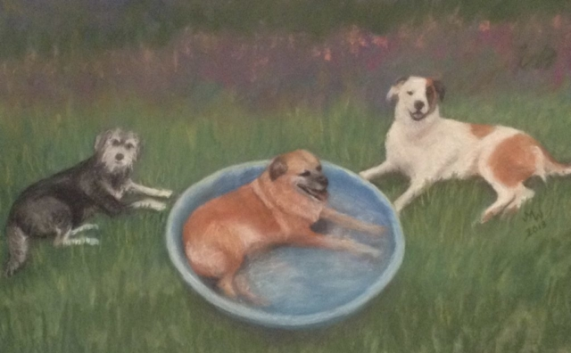 Pastel painting three dogs